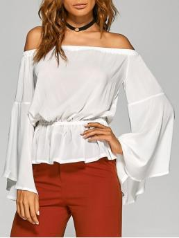 Fall and Spring Solid Off Full Regular Fashion Bell Sleeves Off The Shoulder Top