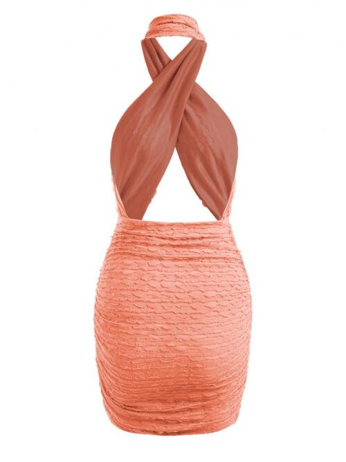 Light Orange Solid Sleeveless Cotton,polyester Crossover Frilled Cutout Ruched Slinky Open Back Dress Discount