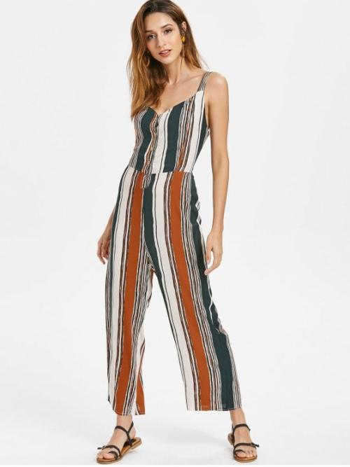Summer No Bowknot Striped Sleeveless Plunging Regular Casual Daily Knotted Back Striped Jumpsuit