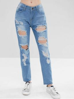 Fall Ripped Zipper High Loose Normal Light Fashion Distressed High Waisted Zipper Jeans