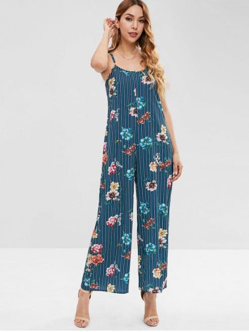 Fall and Spring No Floral Sleeveless Spaghetti Regular Elegant Daily Wide Leg Striped Floral Print Cami Jumpsuit