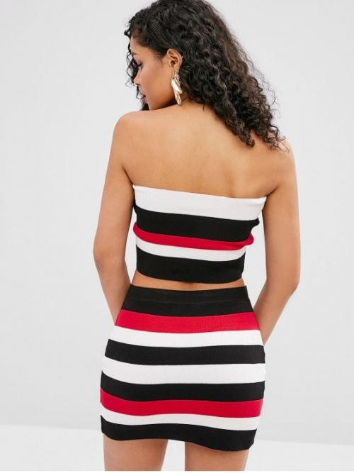 Spring Striped Flat Elastic High Sleeveless Bandeau Skinny Casual Casual and Going Striped Bandeau Top and Fitted Skirt Set