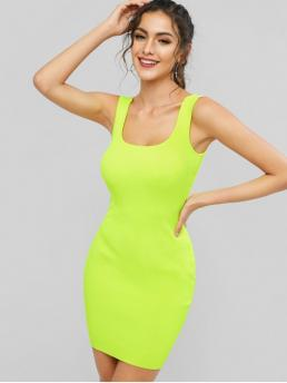 Summer No Elastic Solid Sleeveless U Mini Bodycon Casual and Day Casual Neon Ribbed Bodycon Tank Dress