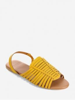 Summer PU 1CM Solid Buckle Flat Ankle Daily Rome For PU Leather Slingback Flat Huarache Sandals
