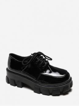 Vintage Patent Lace-Up Solid Platform Round Ankle Fall and Spring Fashion For Plain Patent Leather Platform Short Boots