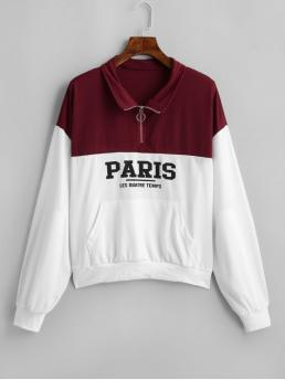 Autumn Zipper Letter Full Regular Drop Sweatshirt Paris Graphic Drop Shoulder Quarter Zip Sweatshirt