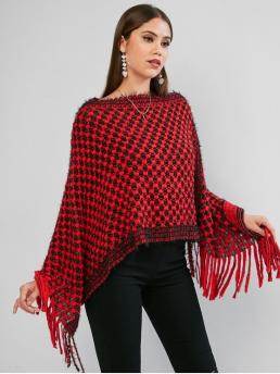 Autumn Fringed Others Elastic Full Boat Regular Asymmetrical Fashion Daily Pullovers Fringed Poncho Sweater