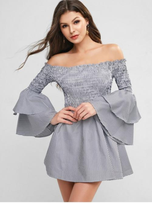 No Fall and Spring Nonelastic Striped Long Off Mini A-Line Day Fashion Smocked Stripes Layered Sleeve Off Shoulder Dress