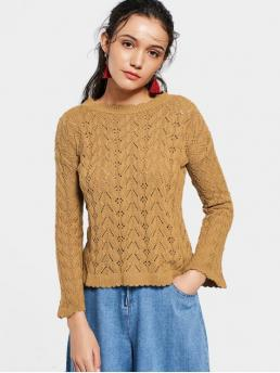 Solid Full Ruff Fashion Pullovers Flare Sleeve Scalloped Sheer Sweater