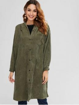 Autumn No Pockets Solid Single Hooded Full Long Wide-waisted Long Daily Fashion Hooded Pocket Longline Coat