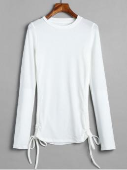 Autumn and Spring Solid Elastic Full Round Fashion Long Sleeve Cinched Tee