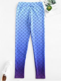 Fall Print High Going Casual High Waist Mermaid Ombre Leggings