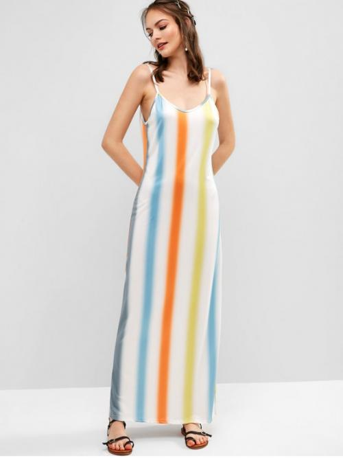 No Summer Elastic Ombre and Striped Sleeveless Spaghetti Ankle-Length A-Line Day and Vacation Fashion Ombre Stripes Cami Maxi Dress