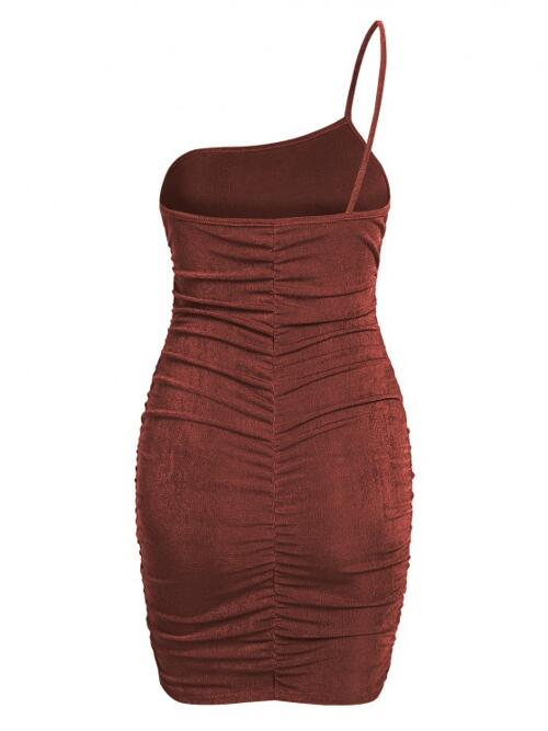 Womens Deep Coffee Solid Sleeveless Polyester One Shoulder Jersey Ruched Slinky Dress