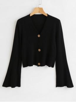 Nonelastic Full Flare V-Collar Regular Regular Casual Cardigans Button Up Flare Sleeves Cardigan