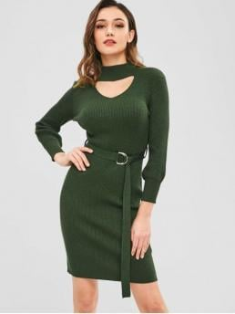 Yes Fall and Winter Elastic Solid Long Mock Knee-Length Sheath Day and Work Brief Bodycon Cut Out Sweater Dress with Belt
