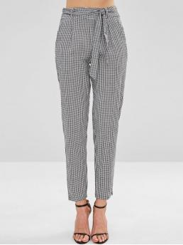 Fall and Spring Zipper Pencil Plaid Regular High Fashion Gingham Belted Tapered Pants