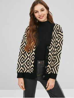 Autumn and Spring and Winter Argyle Elastic Full Collarless Regular Loose Casual Cardigans Argyle Pattern Single Breasted Cardigan
