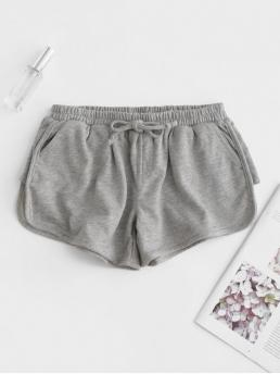 Bowknot Solid Flat Elastic Mid Regular Casual Bowknot Embellished Dolphin Shorts