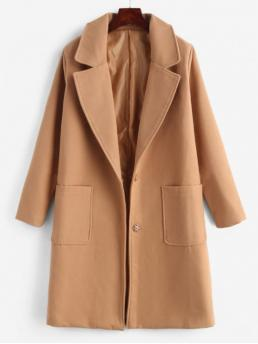 Solid Lapel Full Long Wide-waisted Fashion Faux Wool Snap Button Masculine Coat