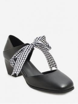 Summer PU 5CM Rubber Plaid Slip-On Chunky Ankle Daily Sweet For Sweet Plaid Bow Chunky Heel Sandals