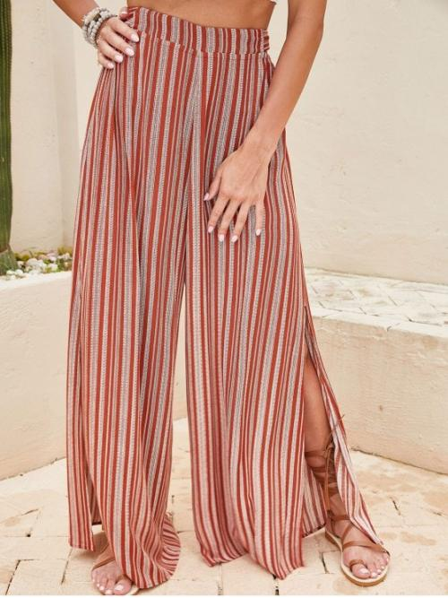 Fall and Spring No Nonelastic Elastic Wide Normal Striped Slit Flat Loose High Fashion Tied Back Stripes Slit Wide Leg Pants