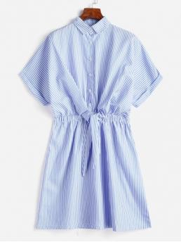 No Summer Striped Tie Short Shirt Mini Shirt A-Line Casual Casual Cuffed Sleeves Tie Front Striped Dress