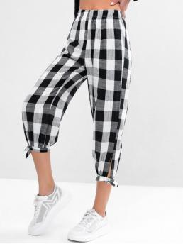 Fall and Spring Elastic Jogger Plaid Regular High Casual Tied Hem Plaid High Waisted Jogger Pants