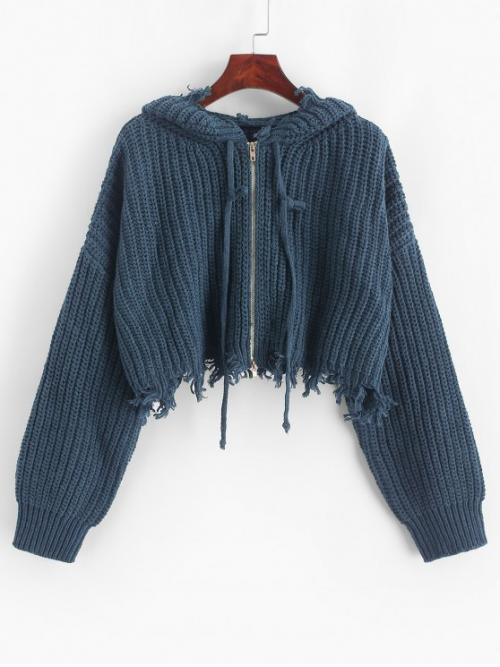 Autumn and Winter Ripped Solid Zipper Elastic Full Drop Hooded Short Loose Fashion Daily Cardigans Hooded Zip Up Distressed Cropped Cardigan