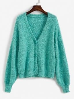 Autumn and Winter Solid Elastic Full Drop V-Collar Regular Loose Fashion Daily Cardigans V Neck Fuzzy Boucle Cardigan