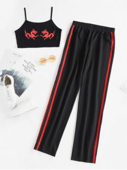 No Fall and Summer Animal Flat Elastic High Sleeveless Spaghetti Regular Casual Casual and Daily Dragon Graphic Cami Top And High Waist Pants
