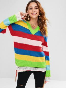 Full Sleeve Pullovers Polyester Striped Colorful Sweater Fashion