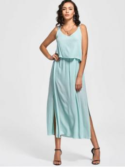 Summer No Solid Ruffles Sleeveless Spaghetti Ankle-Length Casual and Going Overlay Bowknot Slit Maxi Dress