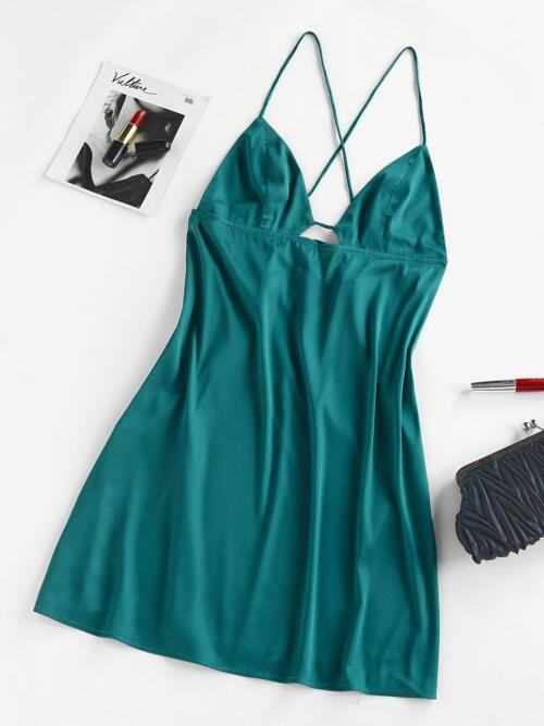 Deep Green Solid Color Sleeveless Polyester,polyurethane Satin Cami Dress Clearance