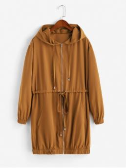 Autumn Solid Hooded Full Long Wide-waisted Coat Daily Casual Zip Up Drawstring Solid Hooded Coat