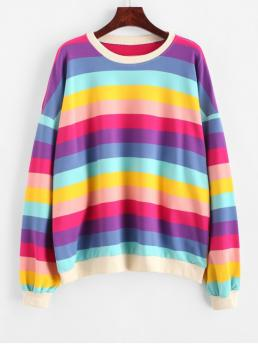 Autumn and Spring and Winter Striped Elastic Full Regular Drop Round Sweatshirt Oversized Drop Shoulder Rainbow Stripes Sweatshirt