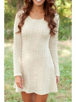 Fall and Winter No Solid Long Round A-Line Mini Casual Long Sleeve Pure Color A Line Dress