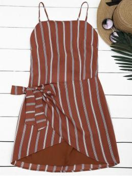 Summer No Striped Bowknot Sleeveless Spaghetti Slip Mini Casual and Club and Going Knotted Stripes Slip Mini Dress