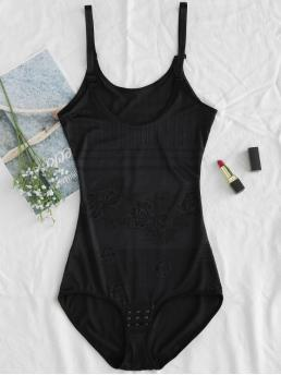 Fall and Spring Floral Sleeveless Scoop Casual Daily Fitted Hook and Eye Bottom Cami Bodysuit