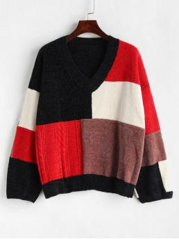 Autumn and Winter Others Elastic Full Drop V-Collar Regular Loose Fashion Daily Pullovers Color Block Chenille Oversized Sweater