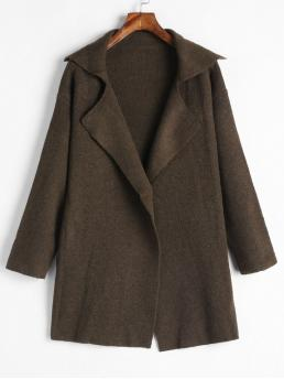 Winter Solid Lapel Full Long Wide-waisted Fashion Lapel One Button Sweater Coat