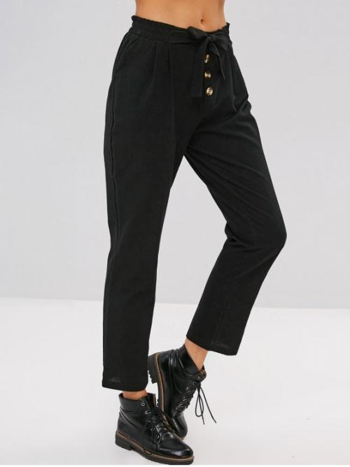 Winter Elastic Straight Solid Button Straight Mid Casual Buttons Embellished Plain Knotted Pants