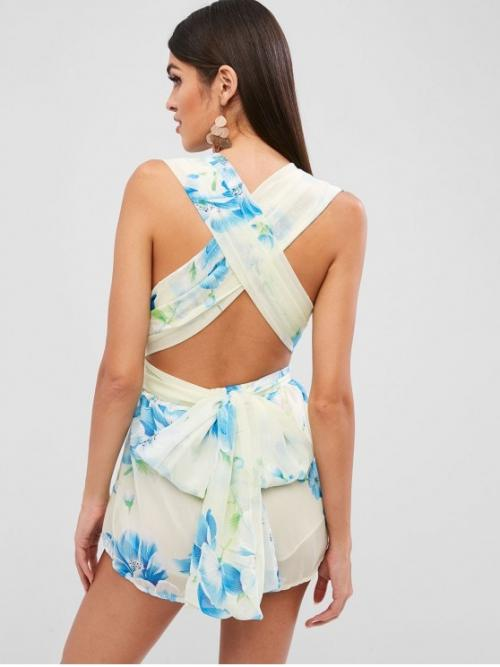 Summer No Criss-Cross Floral Sleeveless Plunging Mini Regular Fashion Going Knotted Floral Criss Cross Romper
