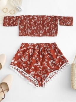 Summer Floral Flat Elastic Mid Short Off Regular Casual Casual and Going Smocked Floral Print Pompoms Shorts Set