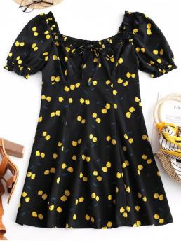 No Summer Nonelastic Cherry Short Square Mini A-Line Day Fashion Tied Collar Cherry Print Mini Dress