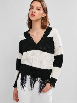 Autumn Ripped Color Elastic Full Drop V-Collar Regular Regular Fashion Daily Pullovers Two Tone Distressed Sweater