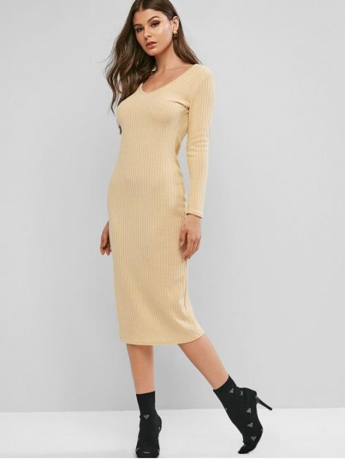 No Fall and Winter Elastic Solid Long V-Collar Mid-Calf Bodycon Casual and Day Fashion Ribbed Long Sleeve Midi Bodycon Knit Dress