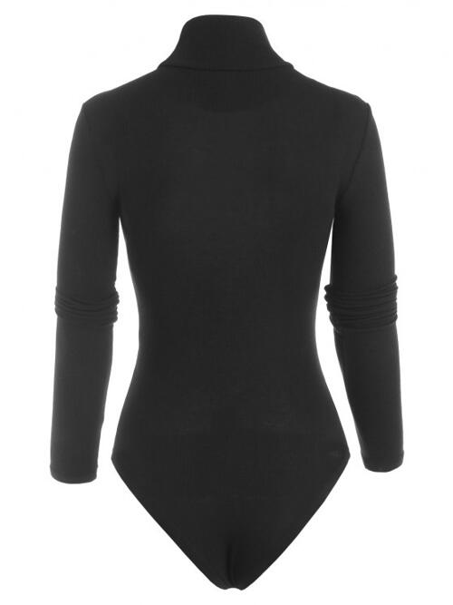 Women's Long Sleeves Cotton,polyester Solid Black High Neck Ribbed Plain Bodysuit