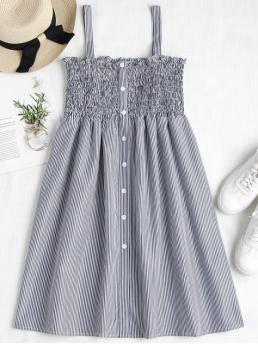 Summer No Striped Sleeveless Square Knee-Length Pinafore Fit Beach Cute Striped Smocked A Line Pinafore Dress