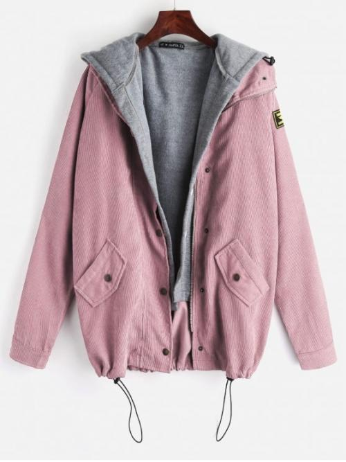 Autumn and Winter Letter Zipper Hooded Full Regular Wide-waisted Fashion Jackets Fleece Vest and Corduroy Jacket Twinset